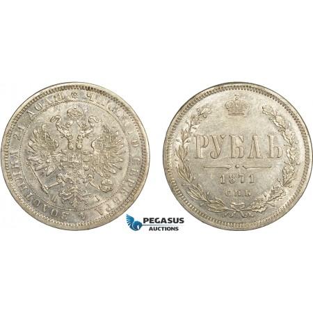 AD315, Russia, Alexander II, Rouble 1871 СПБ-НІ, St. Petersburg, Silver, Cleaned XF-AU