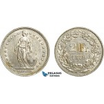 AD316, Switzerland, 2 Franken 1879-B, Bern, Silver, Cleaned XF-AU