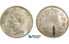 AD322, France, Charles X, 5 Francs 1828-MA, Marseille, Silver, Stained UNC