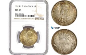 AD324, British West Africa, George V, 2 Shillings 1919, Silver, NGC MS63, Pop 2/0