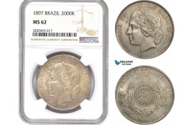 AD325, Brazil, 2000 Reis 1897, Silver, NGC MS62, Pop 3/1, Rare!