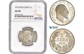 AD326, Bulgaria, Ferdinand I, 2 Leva 1910, Silver, NGC AU58