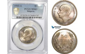 AD327, Bulgaria, Boris III, 50 Leva 1943-A, Paris, Silver, PCGS MS63