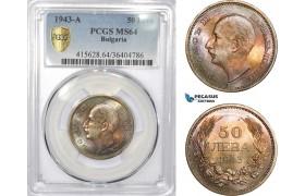 AD328, Bulgaria, Boris III, 50 Leva 1943-A, Paris, Silver, PCGS MS64