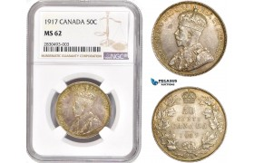 AD329, Canada, George V, 50 Cents 1917, Silver, NGC MS62