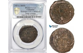 AD334, Colombia, Siege of Cartagena, 2 Reales ND (1815) Restrepo 118.1, PCGS VF25, Rare!
