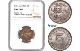 AD336, Estonia, 5 Senti 1931, NGC MS63BN