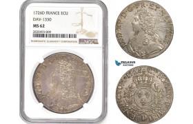 AD337, France, Louis XV, Ecu 1726-D, Lyon, Silver, NGC MS62, Pop 1/0