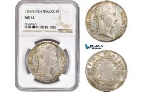AD339, France, Napoleon, 5 Francs 1809-K, Bordeaux, Silver, NGC MS62, Pop 1/0, Rare!