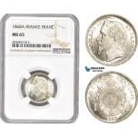 AD341, France, Napoleon III, 1 Franc 1868-A, Paris, Silver, NGC MS65