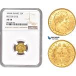 AD342, France, Napoleon III, 5 Francs 1854-A, Paris, Gold, NGC AU58