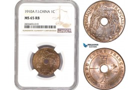 AD345, French Indo-China, 1 Centime 1910-A, Paris, NGC MS65RB