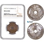 AD346, French Indo-China, 1 Centime 1917-A, Paris, NGC MS64BN