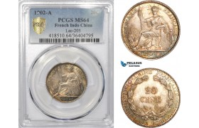 AD347, French Indo-China, 20 Centimes 1902-A, Paris, Silver, PCGS MS64
