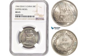 AD349, French Indo-China, ESSAI 50 Centimes 1946, Paris, Cu-Ni, NGC MS65