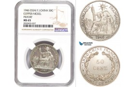AD350, French Indo-China, Piefort ESSAI 50 Centimes 1946, Paris, Cu-Ni, 104pcs. Struck, NGC MS65