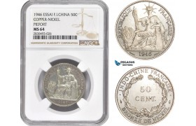AD351, French Indo-China, Piefort ESSAI 50 Centimes 1946, Paris, Cu-Ni, 104pcs. Struck, NGC MS64