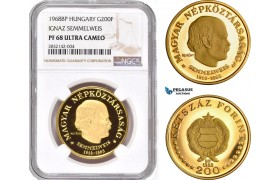 "AD356, Hungary, ""Semmelweis"" 200 Forint 1968-BP, Budapest, Gold, NGC PF68 Ultra Cameo"
