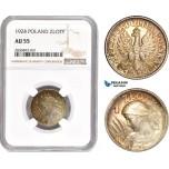 AD358, Poland, 1 Zloty 1924, Paris, Silver, NGC AU55