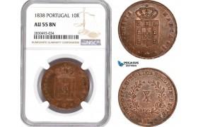 AD361, Portugal, Maria, 10 Reis 1838, NGC AU55BN