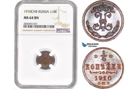 AD364, Russia, Nicholas II, 1/4 Kopek 1910, St. Petersburg, NGC MS64BN