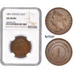 AD365, Straits Settlements, Victoria, 1 Cent 1897, NGC AU58