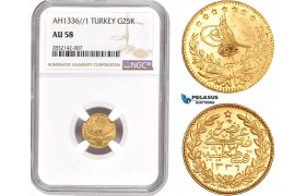 AD368, Ottoman Empire, Turkey, Mehmed Vahdeddin VI, 25 Kurush AH1336/1, Qustantiniya, Gold, NGC AU58