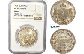 "AD375, Norway, Haakon VII, 2 Kroner 1906, Kongsberg, Silver, NGC MS66 ""Independence"""
