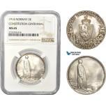 AD376, Norway, Haakon VII, 2 Kroner 1914, Kongsberg, Silver, NGC MS65
