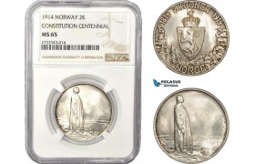 "AD376, Norway, Haakon VII, 2 Kroner 1914, Kongsberg, Silver, NGC MS65 ""Constitution Centennial"""