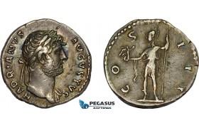 AD379, Roman Empire, Hadrian (117-138 AD) AR Denarius (3.08g) Rome, 124-128 AD, Roma holding Victory, Toned VF