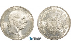 AD380, Austria, Franz Joseph, 5 Corona 1900, Vienna, Silver, UNC (Scratch on Neck)