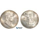 AD381, Austria, Franz Joseph, 5 Corona 1908, Vienna, Silver