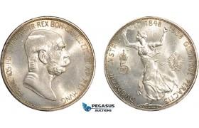 """AD381, Austria, Franz Joseph, 5 Corona 1908, Vienna, Silver """"60TH ANNIVERSARY OF REIGN"""" Cleaned UNC"""