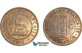 AD383, French Indo-China, Centime 1888-A, Paris, Polished AU