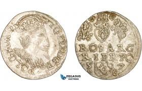 AD386, Poland, Sigismund III, 3 Groschen (Trojak) 1597, Silver (2.16g) Abnormal coinage, Rare! XF