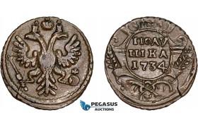 AD390, Russia, Anna, Polushka 1734, Overstruck on a Kopek of Peter II, VF-XF