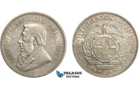 "AD404, South Africa (ZAR) 5 Shillings 1892, Berlin, Silver ""Single Shaft"" Cleaned XF"