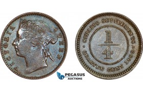 AD405, Straits Settlements, Victoria, 1/4 Cent 1899, Cleaned AU