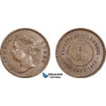 AD406, Straits Settlements, Victoria, 1 Cent 1876, Brown AU