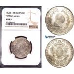 AD414, Austria, Franz II, 20 Kreuzer 1805-E, Karlsburg (Transylvania) Silver, NGC MS63, Pop 1/1
