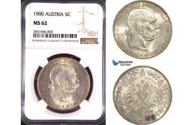 AD415, Austria, Franz Joseph, 5 Corona 1900, Vienna, Silver, NGC MS62