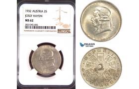 "AD416, Austria, 2 Shilling 1932 ""Josef Haydn"" Vienna, Silver, NGC MS62"