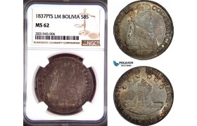AD417, Bolivia, 8 Soles 1837 PTS LM, Potosi, Silver, NGC MS62, Top Pop!