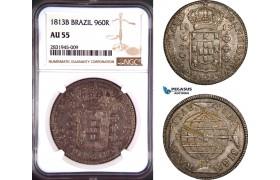 AD419, Brazil, João Prince Regent, 960 Reis 1813-B, Bahia, Silver, NGC AU55