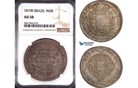 AD420, Brazil, João VI, 960 Reis 1819-R, Rio de Janeiro, Silver, NGC AU58