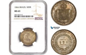 AD422, Brazil, Pedro II, 500 Reis 1866, Silver, NGC MS63