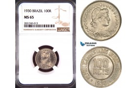 AD423, Brazil, 100 Reis 1930, NGC MS65, Pop 1/1