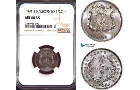 AD425, British North Borneo, 1/2 Cent 1891-H, Heaton, NGC MS66