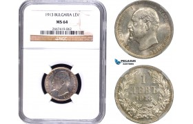 AD426, Bulgaria, Ferdinand I, 1 Lev 1913, Vienna, Silver, NGC MS64